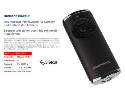 Hörmann HS5 BS Schwarz Matt 5-Befehl Handsender BiSecur 868 Mhz 436948 - Adams Tore & Antriebe - Sommer, Wisniowski, Hörmann Vertragshändler