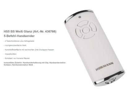 Hörmann HS5 BS Weiß 5-Befehl Handsender BiSecur 868 Mhz 436766 - Adams Tore & Antriebe - Sommer, Wisniowski, Hörmann Vertragshändler