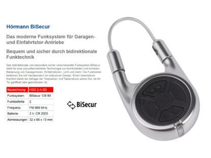 Hörmann HSD2 BS Alu 2-Befehl Handsender BiSecur 868 Mhz 436800 - Adams Tore & Antriebe - Sommer, Wisniowski, Hörmann Vertragshändler