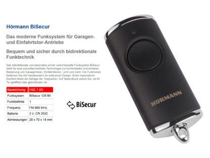Hörmann HSE1 BS Schwarz Matt 1-Befehl Handsender BiSecur 868 Mhz 4511730 - Adams Tore & Antriebe - Sommer, Wisniowski, Hörmann Vertragshändler