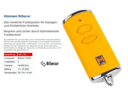 Hörmann HSE2 BS Gelb 2-Befehl Handsender BiSecur 868 Mhz 436881 - Adams Tore & Antriebe - Sommer, Wisniowski, Hörmann Vertragshändler