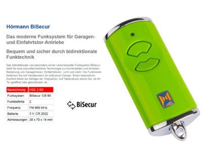 Hörmann HSE2 BS Grün 2-Befehl Handsender BiSecur 868 Mhz 436887 - Adams Tore & Antriebe - Sommer, Wisniowski, Hörmann Vertragshändler