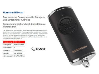 Hörmann HSE4 BS Schwarz Matt mit verchromten Kappen 4-Befehl Handsender BiSecur 868 Mhz 4511734 - Adams Tore & Antriebe - Sommer, Wisniowski, Hörmann Vertragshändler