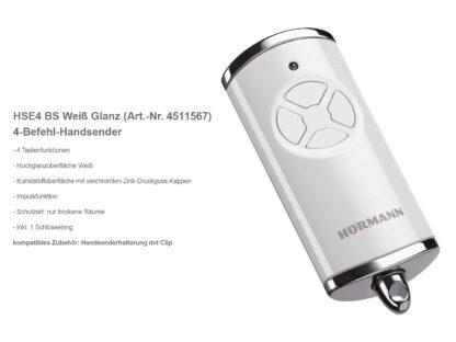 Hörmann HSE4 BS Weiß 4-Befehl Handsender BiSecur 868 Mhz 4511567 - Adams Tore & Antriebe - Sommer, Wisniowski, Hörmann Vertragshändler