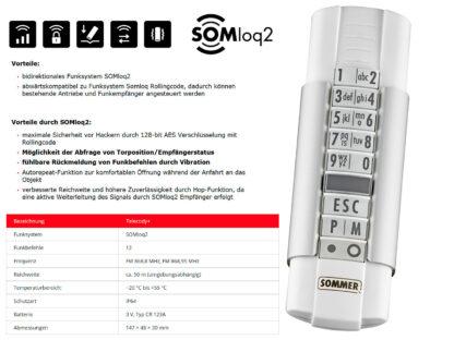 Sommer Handsender 12 Befehl Telecody+ Weiß S10212-00032 - Adams Tore & Antriebe - Sommer, Wisniowski, Hörmann Vertragshändler