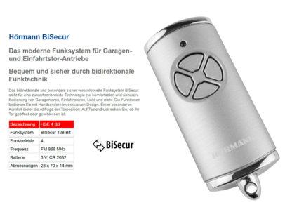 Hörmann HSE4 BS Silber 4-Befehl Handsender BiSecur - Adams Tore & Antriebe - Sommer, Wisniowski, Hörmann Vertragshändler